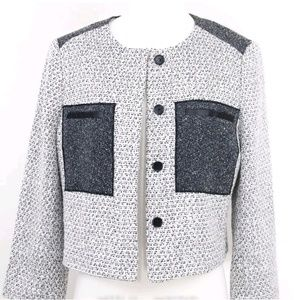 Ann Taylor Tweed Coat Blazer Metallic Woven Winter